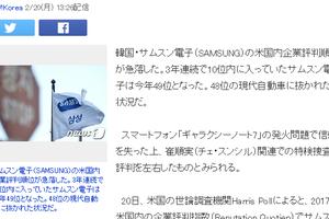 韓国人「サムスン電子、米国での企業評判が7位から49位に急落」 日本の反応