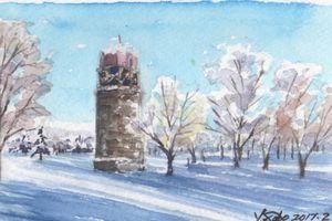 百合が原公園  雪景色