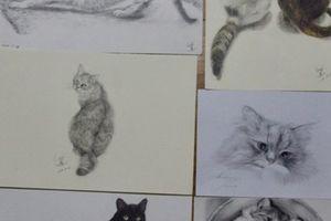 くろひげ屋ニャンズと猫の鉛筆画