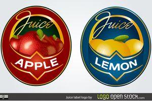 新鮮な果物ジュースのラベル見本 apple lemon fruit juice label