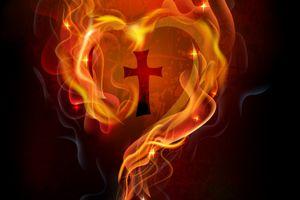 ハート型の炎で包む十字架 flaming heart frame