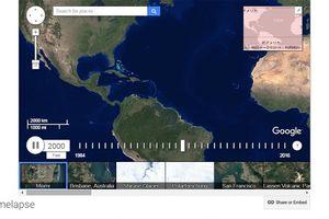 1984年から2016年までの移り変わりをタイムラプスムービーで見られる「Google Earth Engine」