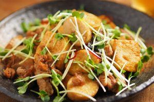 エリンギと豆腐のオイスターソース炒め、エリンギを輪切りにするのがポイント!