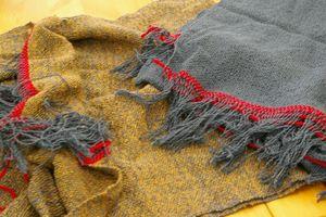 注文品 手織り布を使ったクロッシェ