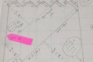 製図とチャート表《斜め編みのポンチョ風セーター》