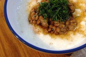 体力回復のための長芋 「トロロ納豆大葉のせ」