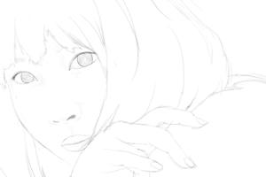 女性声優の内田真礼を描く その5 スケッチ