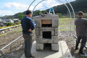 院内石でピザ窯を作ってしまいました