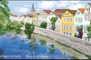 ドイツの街並み チュービンゲンを パソコンで描く