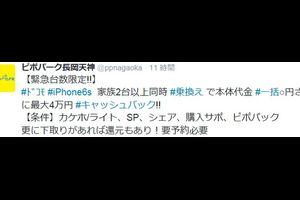 docomo iPhone6s × 2 MNP一括〇円 + 4万CB
