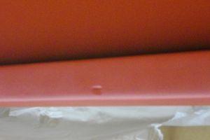 木製玄関ドア枠の凹み傷補修