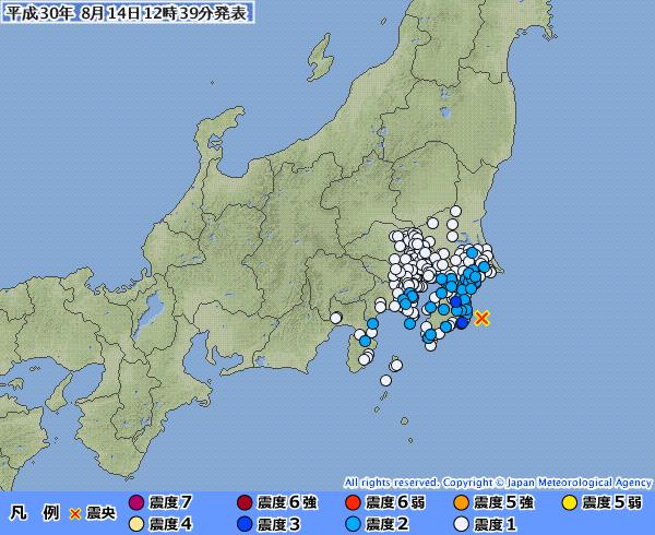 千葉県で最大震度3の地震発生 M4.8 震源地は千葉県東方沖 深さ約60km