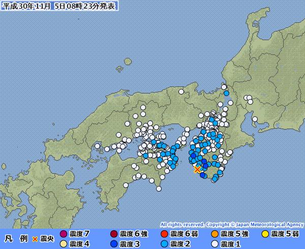 近畿地方で最大震度3の地震発生 M4.5 震源地は紀伊水道 深さ約50km