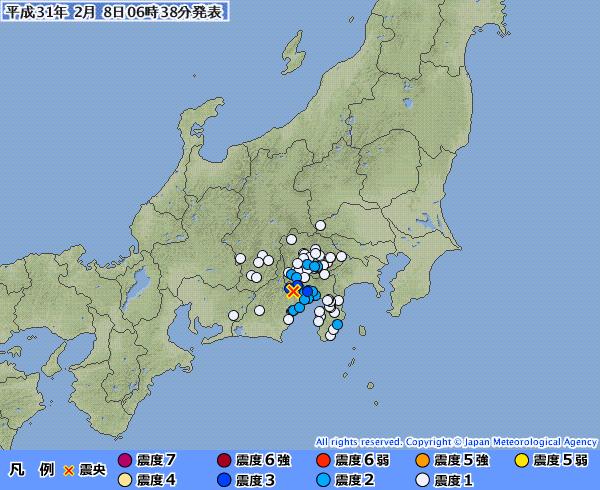 静岡と山梨で最大震度3の地震発生…震源地がヤバくないか、これ?