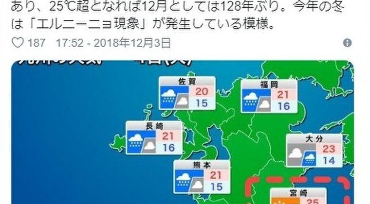 【128年ぶり】今日12月4日は各地で記録的な「高温」に…宮崎県では「25℃超」の夏日予想