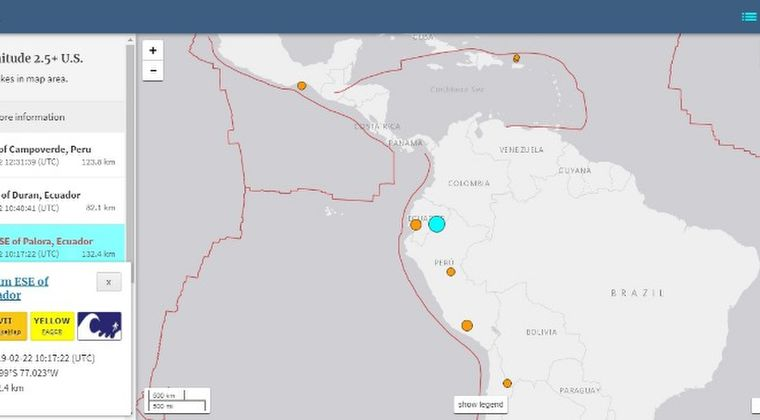 【南米】ペルーとエクアドルの国境付近で「M7.5」の地震発生