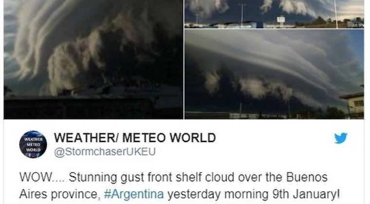 【アルゼンチン】何層にも重なっている不気味な「巨大雲」が出現…天変地異の前触れかと話題に