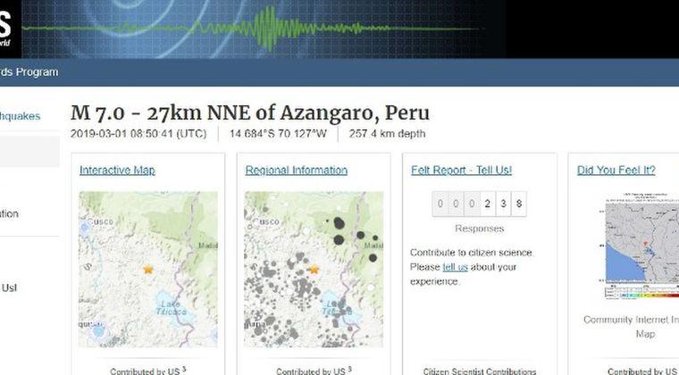 【内陸】南米ペルーで「M7.0」の地震発生
