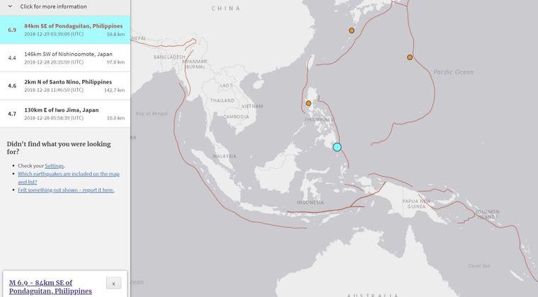 フィリピン南部で「M6.9」の地震発生…同国とインドネシア沿岸には津波警報発表