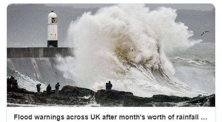 【イギリス】1ヶ月分の雨量が24時間中に降ってしまい洪水警報が発令