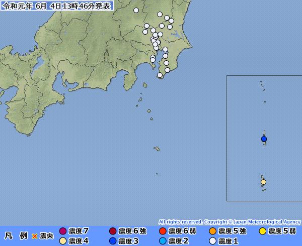 【東京都】小笠原で最大震度4の地震発生 M6.1 震源地は鳥島近海 深さ約440km