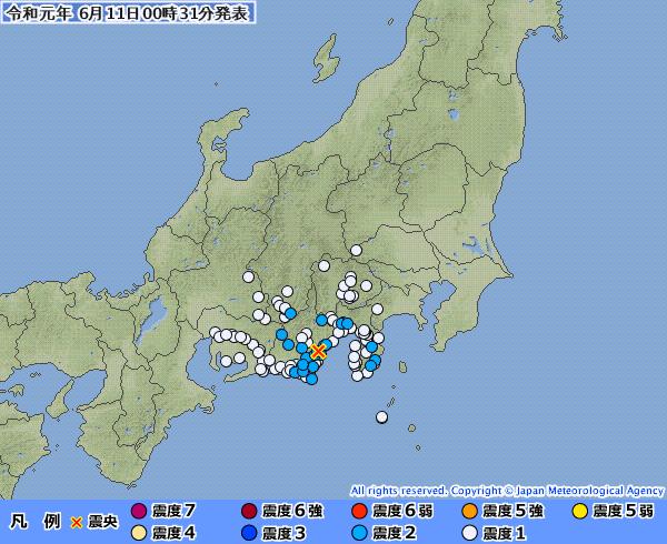 【6.11】静岡県で最大震度2の地震発生 M4.0 震源地は静岡県中部 震源深さは約30km
