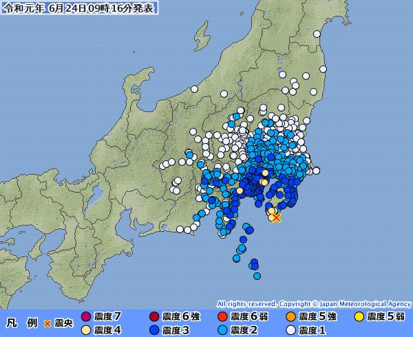 【東京震度4】関東地方で最大震度4の地震発生 M5.5 震源地は千葉県南東沖 深さ約60km