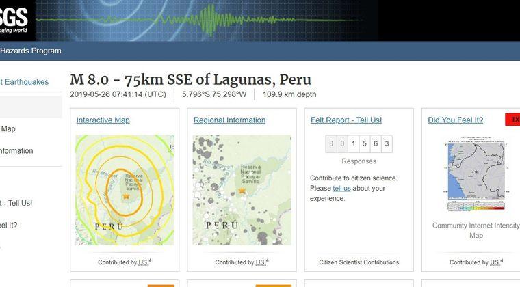 【USGS】ペルーで「M8.0」の大地震が発生 深さ約110km
