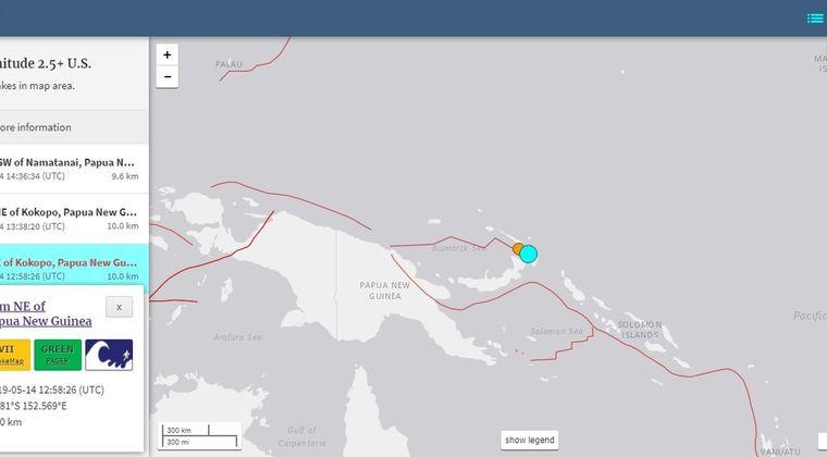 【USGS】パプアニューギニアで「M7.5」の地震発生