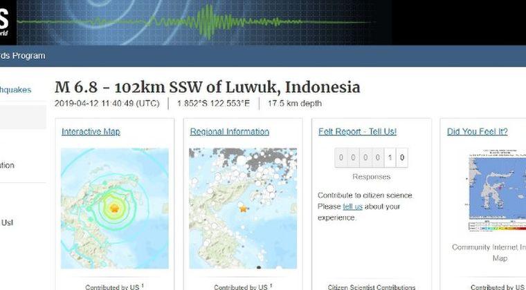 【USGS】インドネシア・スラウェシ島沖で「M6.8」の地震発生…一時津波警報も出される