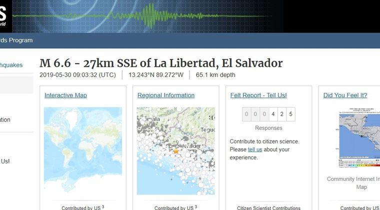 【USGS】中米エルサルバドルでM6.6の地震発生