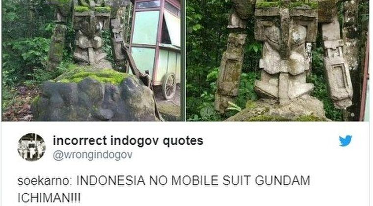 【古代文明】インドネシアで「機動戦士ガンダム」にそっくりな石像を発見…現地人しか知らず、外部の人が見つけ海外で話題に