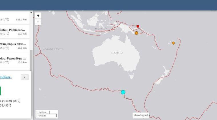 【UTC14時46分頃】オーストラリアと南極の間で「M6.5」の地震が発生