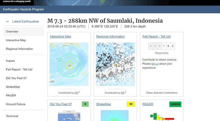 【USGS】インドネシアで「M7.3」の地震発生