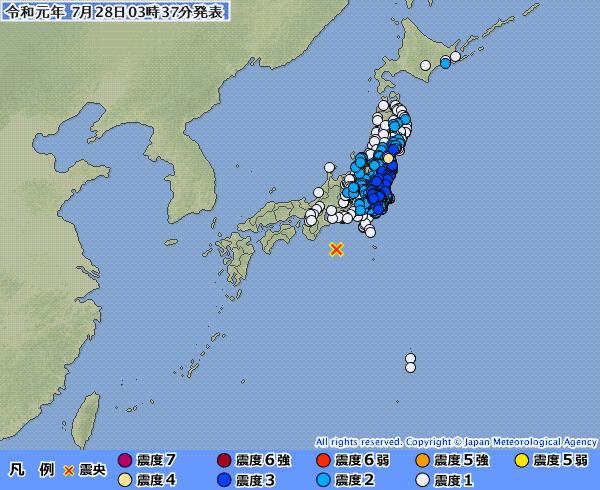 【異常震域】東日本の広範囲で地震の揺れを観測 最大震度4 「M6.5」 震源地は三重県南東沖 深さ約420km