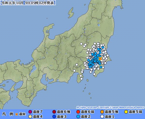 関東地方で最大震度2の地震発生 M4.1 震源地は千葉県北西部 深さ約80km