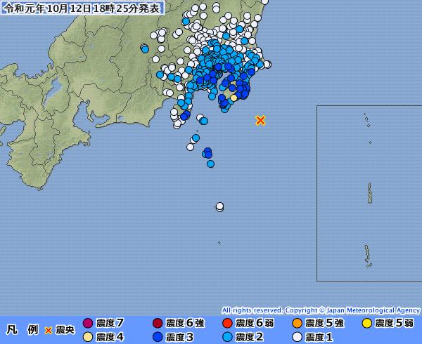 【東京震度3】関東地方で最大震度4の地震発生 M5.7 震源地は千葉県南東沖 深さ約80km