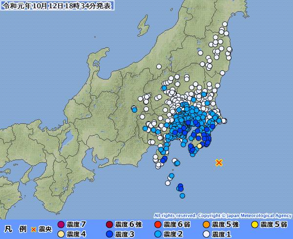 【満月】台風のせいで地震が起きたのか?この暴風雨の中、千葉県を震源とする「M5.7」地震も発生し「もうやめて!」の悲鳴
