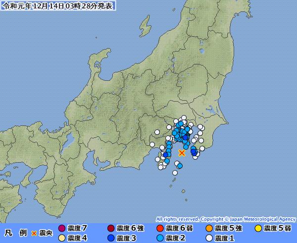 関東地方で最大震度3の地震発生 M4.5 震源地は伊豆大島近海 深さ約30km