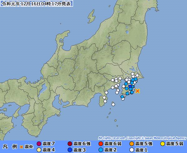 千葉県で最大震度3の地震発生 M4.3 震源地は千葉県東方沖 深さ約60km