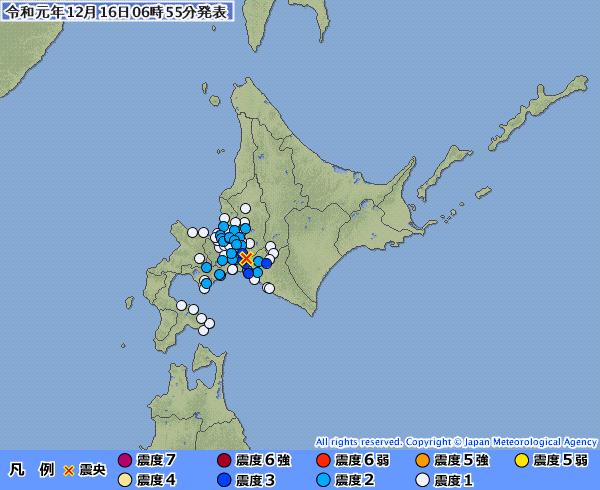 北海道・胆振地方で最大震度3の地震発生 M4.3 震源地は胆振地方中東部 深さ約30km