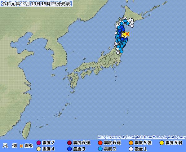 【青森】東北地方で最大震度5弱の地震発生 M5.5 青森県東方沖 深さ約50km