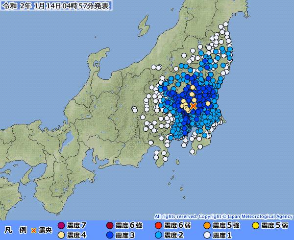 【広範囲】関東地方で最大震度4の地震発生 M5.0 震源地は茨城県南部 深さ約50km
