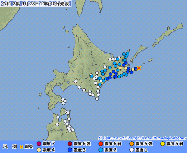 北海道で最大震度4の地震発生 M5.4 震源地は根室半島南東沖 深さ約100km