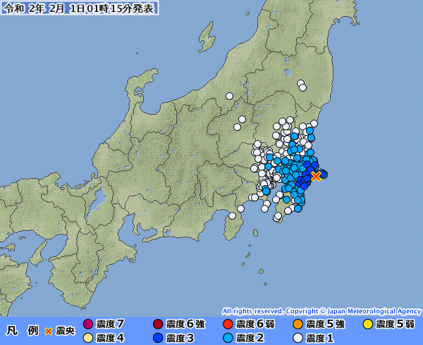 関東地方で最大震度3の地震発生 M5.1 震源地は千葉県東方沖 深さ約50km