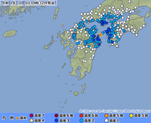 【南海トラフ】四国・中国・九州地方で最大震度3の地震発生 M4.7 震源地は豊後水道 深さ約60km