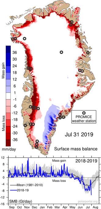 【熱波】グリーンランドの「氷床」が2012年時の異常気象を超えるレベルで溶けています