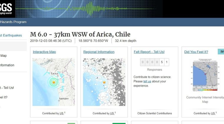 南米チリ沿岸で「M6.0」の地震が発生