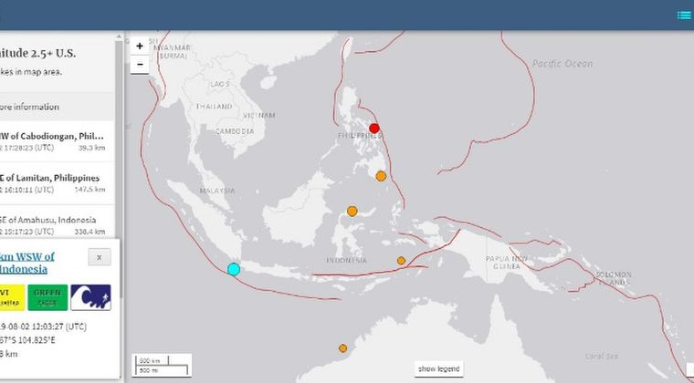 【地震多発】インドネシアのジャワ島で「M6.9」 チリ付近で「M6.8」 フィリピンで「M5.0」…31日にはバヌアツで「M6.6」の地震も