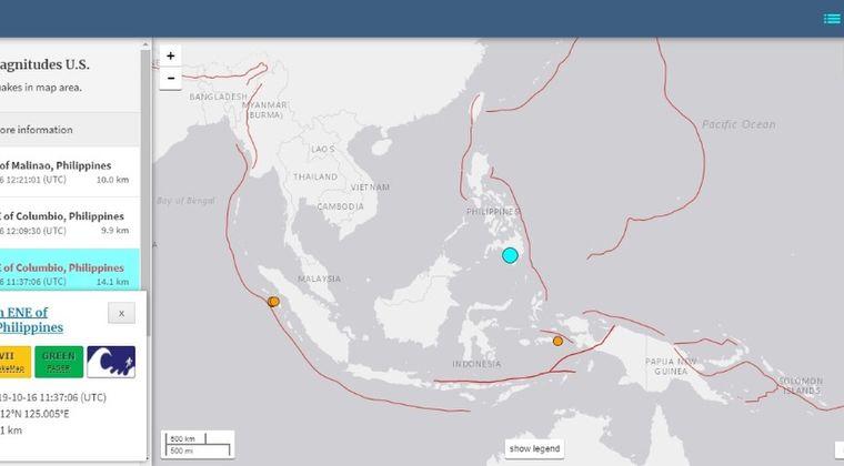 【ミンダナオ島】フィリピンで「M6.4」「M5.3」「M4.9」の地震発生、 津波の恐れなし